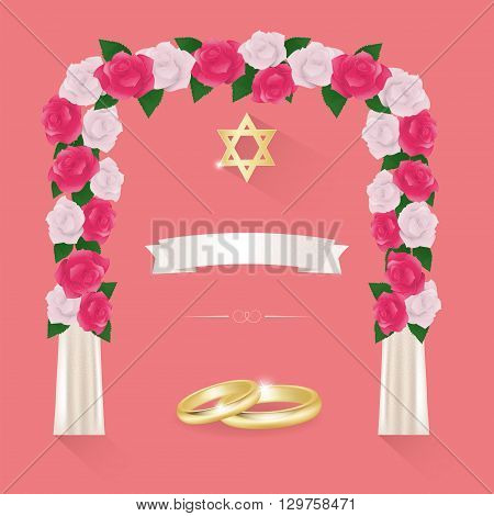 Jewish wedding elements for invitation design with hupa.