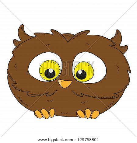 Cartoon character owlet. Little Owl vector illustration