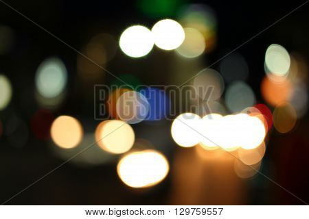 Blurred of car in city at night