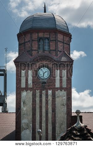 Built between 1896 -1904 by the State of Prussia, clock Tower historic guildhall Coal Mine Bielszowice in Ruda Slaska, Poland, Upper Silesia region.