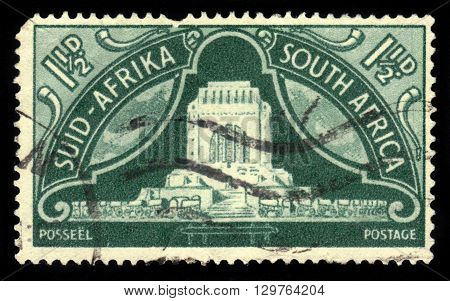 South Africa - CIRCA 1949: A stamp printed in Republic of South Africa shows Voortrekker Monument in Pretoria, Monument to the pioneers, circa 1949