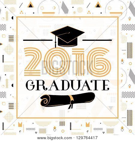 Vector illustration on seamless background congratulations on graduation 2016 class of, hipster geometry design for the graduation party. Card graduates