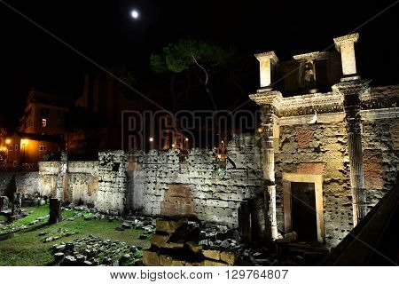 View of the Forum of Nerva at night and the famous