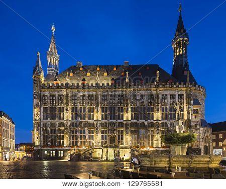 Historic Town Hall At Night, Aachen