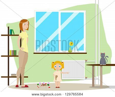 Mother is angry at her daughter because she broke the vase, but the daughter blames cat. Vector illustration