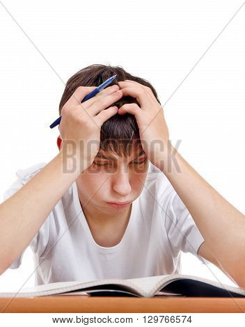Tired Student on the School Desk on the White Background