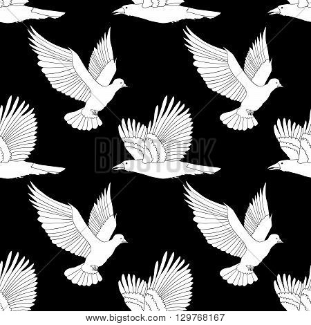 Seamless pattern with flying raven and dove. Anti-stress coloring page with birds. Black and white hand drawn doodle bird.Tile texture. Vector illustration.