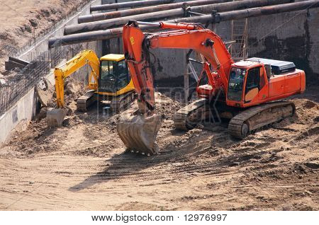 big and small excavators