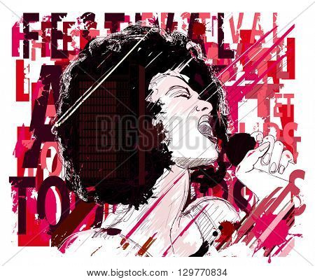 Music Jazz, afro american jazz singer on grunge background - vector illustration