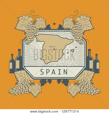 Vintage wine label with Spain map, vector illustration