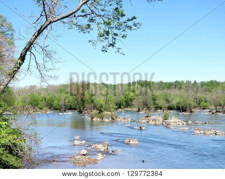 View of Potomac River near Washington DC 20 April 2016 USA