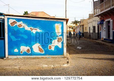 SANTA MARIA, CAPE VERDE - DECEMBER 17, 2015: Cabo Verde map on a wall in Santa Maria Town Sal island