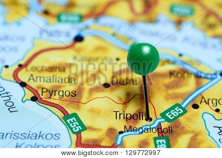 Tripoli pinned on a map of Greece