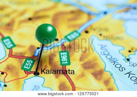 Kalamata pinned on a map of Greece