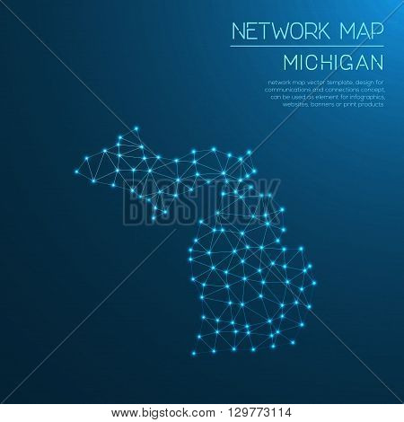 Michigan Network Map. Abstract Polygonal Us State Map Design. Internet Connections Vector Illustrati