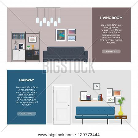 Two banner for web design.  The modern interior design in a flat style. Living room. Hallway.