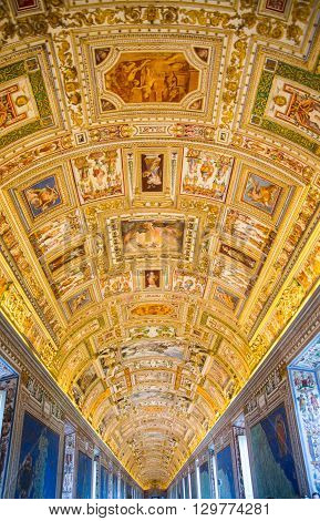 ROME, ITALY - APRIL 8, 2016:  Interior of Vatican hall, museums buildings where locates library, archives.