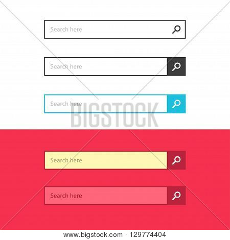 Search bar set vector interface elements with search button, search box modern simple design isolated on white and red background