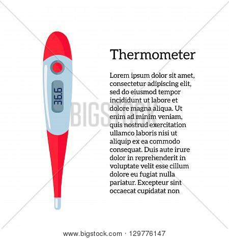 Image Medical thermometer illustration colored thermometer for measuring human body, medical equipment, object on a white background