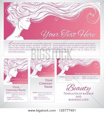 Vector illustration. Beautiful silhouette of long hair woman on pink background. Corporate identity branding template of banner/flyer and business card. Concept design for beauty salons spa cosmetics fashion and beauty industry.