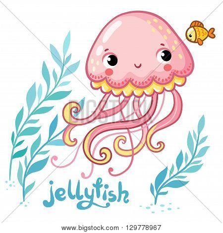 Jellyfish. Cute cartoon Jellyfish in vector. Vector illustration of jellyfish and seaweed