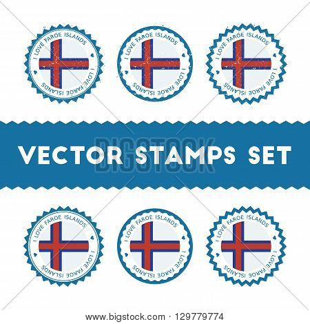 I Love Faroe Islands Vector Stamps Set. Retro Patriotic Country Flag Badges. National Flags Vintage