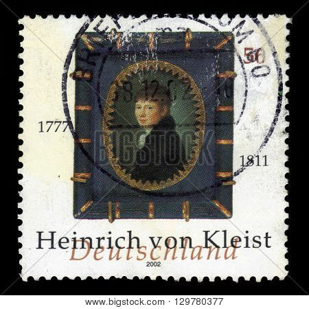 GERMANY - CIRCA 2002: a stamp printed in Germany shows portrait Heinrich Von Kleist german poet, dramatist, novelist and short story writer, circa 2002