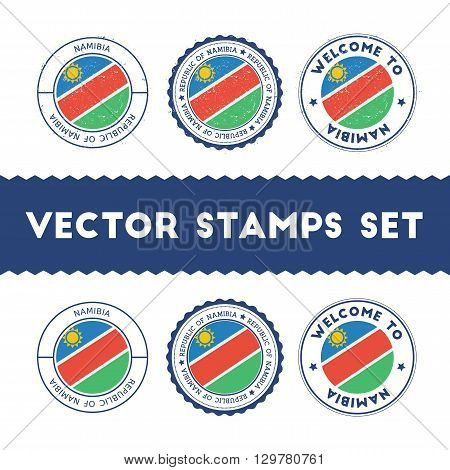 Namibian Flag Rubber Stamps Set. National Flags Grunge Stamps. Country Round Badges Collection.