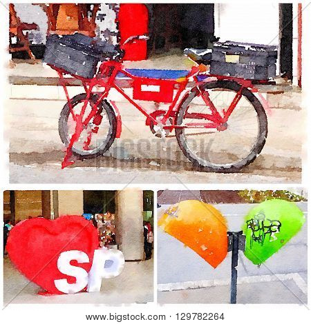 Collage of digital watercolor of images of a bicycle a public telephone and a SP with heart from Sao Paulo Brazil.