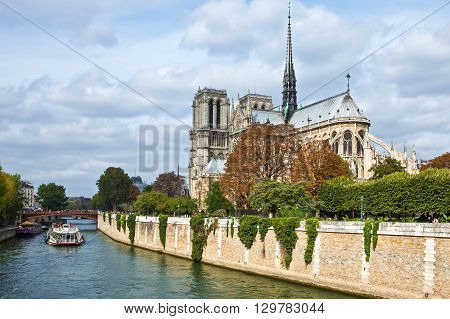 Paris France - October 3 2009: The Notre Dame Cathedral seen from the left bank (rive gauche) of the river.