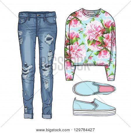 Lady fashion set of spring, winter season outfit. Illustration stylish and trendy clothing. Coat, dress, bag, accessories, sunglasses, high heel shoes. Denim, slip-on, jeans.