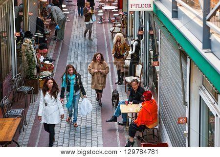 Paris France - October 4 2009: Port Glignancourt area people in the Dauphine market.