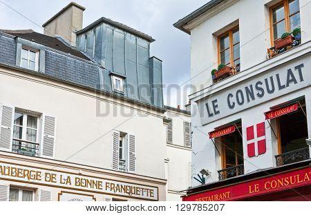 Paris France - October 4 2009: Montmartre hotel and restaurants in Rue S.Rustique.
