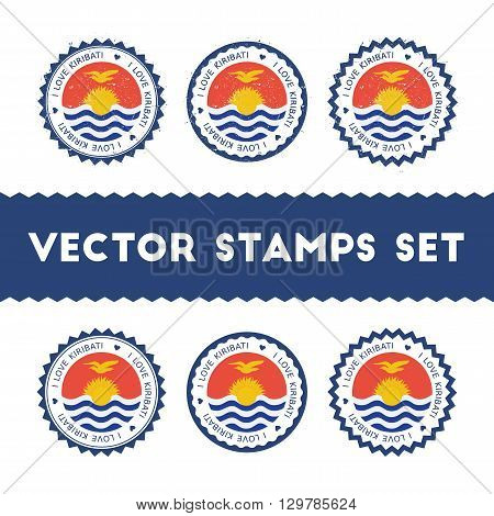 I Love Kiribati Vector Stamps Set. Retro Patriotic Country Flag Badges. National Flags Vintage Round