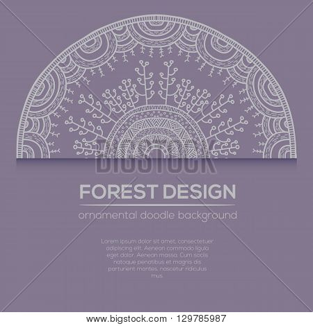 Vector Nature Design With Forest. Vector Round Mandala In Childish Style.