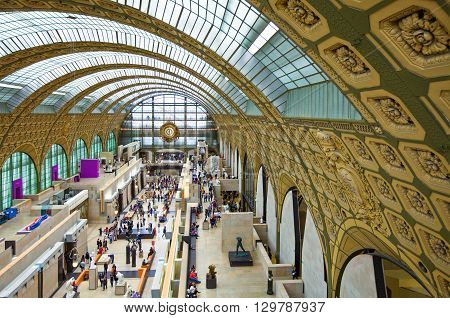 Paris France - October 6 2009: Visitors in the main hall of the D'Orsay museum.
