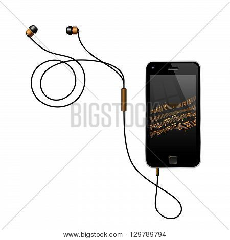 Smartphone With Earphones. Semi Realistic Vector Illustration Of A No Name Smart Phone With Its Earphones