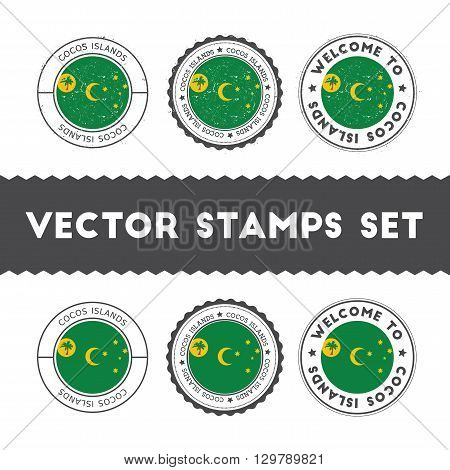 Cocos Islander Flag Rubber Stamps Set. National Flags Grunge Stamps. Country Round Badges Collection