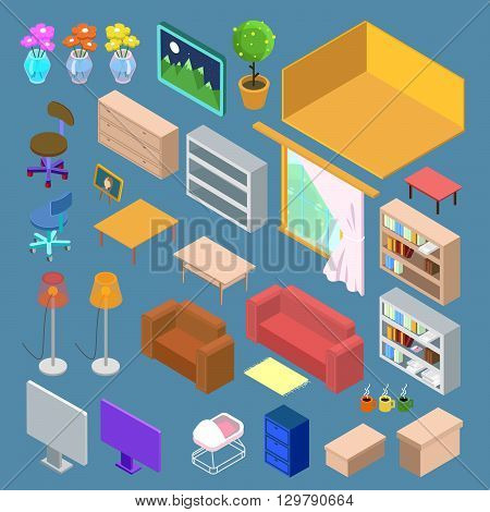 Isometric Furniture, Interior Objects Set. Vector illustration