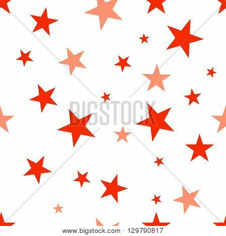 Seamless background with red stars. Vector pattern. EPS 10.