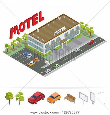 Isometric Building - Motel with Parking. Vector illustration