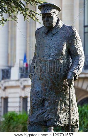 Paris France - August 29 2011: Av. Winston Churchill the Churchill monument.