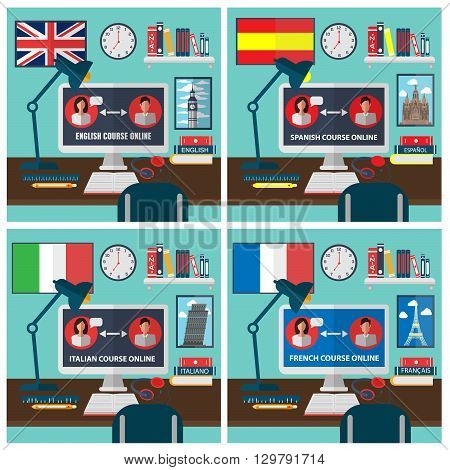 Learning Foreign Language Online. Online Education. Vector illustration poster