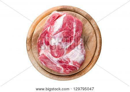 raw marbled meat isolated on white background