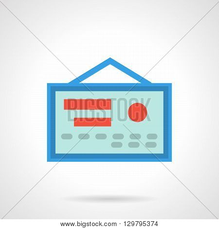 Hanging blue document with red elements and stamp. Health certificate. Permission for professional activity, guarantee quality of medical services. Flat color style vector icon.