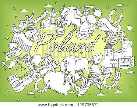 Vector line art Doodle set of cartoon characters and objects on Poland. Coloring Book