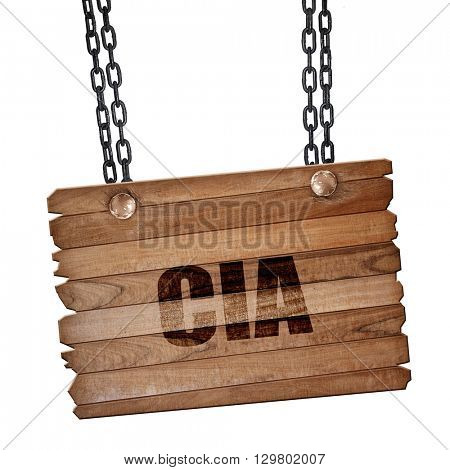 cia, 3D rendering, wooden board on a grunge chain
