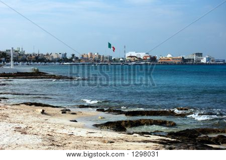 Mexican Flag Over The Harbor