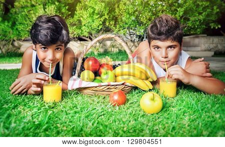 Happy boys lying down on fresh green grass field and with pleasure drinking fruity juice, enjoying picnic in a park, spending summer holidays in the camp