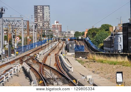 The railway tracks of Docklands Light Railway in London UK
